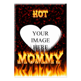 Hot Mommy fire and red marble heart Large Business Card