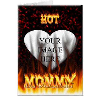 Hot Mommy fire and red marble heart Note Card