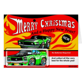 Hot Muscle Car Toy  Merry Christmas Happy New Year Card