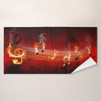 Hot Music Notes Bath Towel