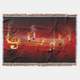 Hot Music Notes Woven Throw Blanket