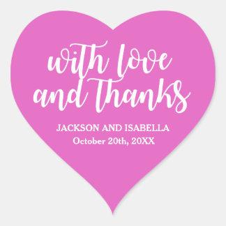 Hot Neon Pink Love & Thanks Wedding Heart Sticker