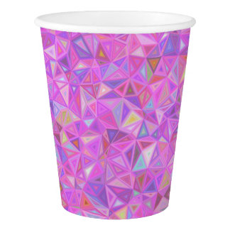 Hot Neon Purple and Pink Geometric Pattern Paper Cup