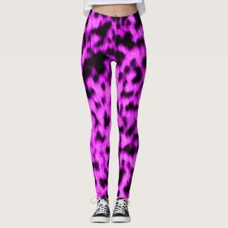 Hot Neon Purple Cheetah Rave Love Leggings