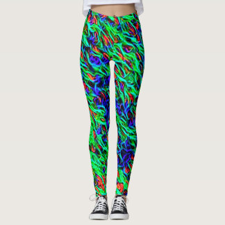 Hot Neon Wax Rave Love Leggings
