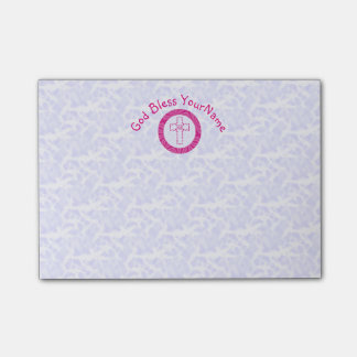 Hot or Bright Pink Christian Zig-Zag Cross White Post-it Notes