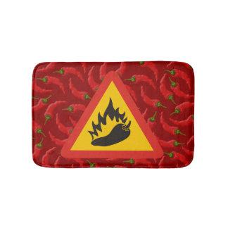 Hot pepper danger sign bath mat
