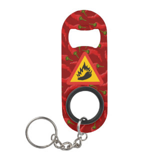 Hot pepper danger sign mini bottle opener