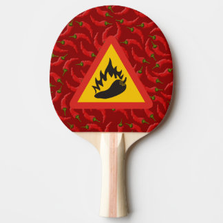 Hot pepper danger sign Ping-Pong paddle