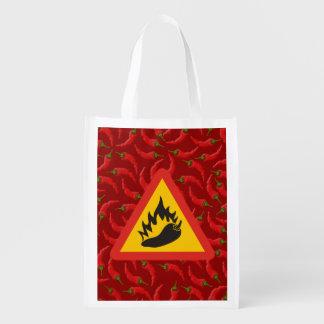 Hot pepper danger sign reusable grocery bag