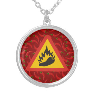 Hot pepper danger sign silver plated necklace
