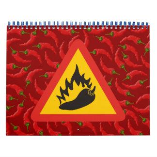 Hot pepper danger sign wall calendar