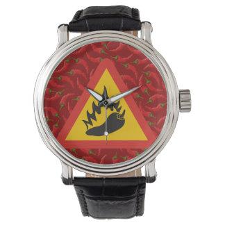 Hot pepper danger sign wrist watch