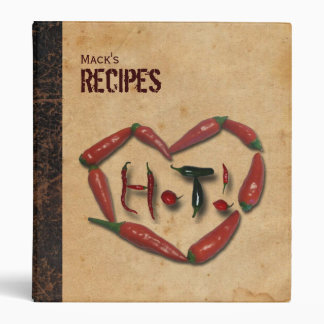 Hot Pepper Leather Look Personalized Recipe Binder