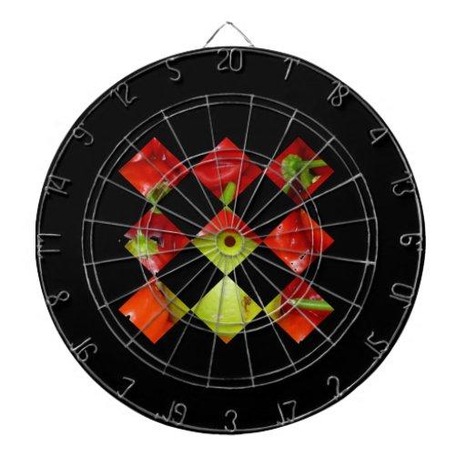 Hot pepper lime diamond tile graphic dart board