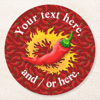 Hot Pepper with Flame Round Paper Coaster