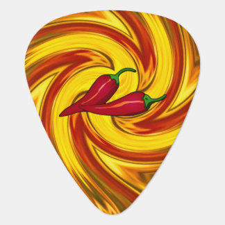 hot peppers abstract swirled gold red mandala guitar pick