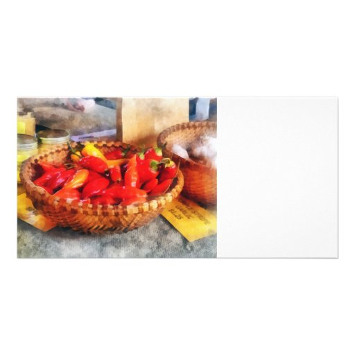 Hot Peppers in Farmers Market Photo Cards