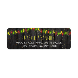 Hot Peppers String Lights Return Address Label