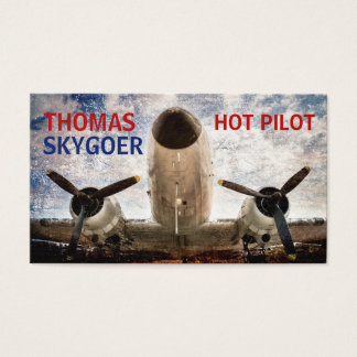 Hot pilot charter airline funny customizable business card