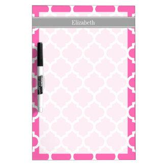 Hot Pink2 Wht Moroccan #5 Dark Gray Name Monogram Dry Erase Board