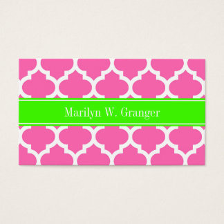 Hot Pink2 Wht Moroccan #5 Lime Green Name Monogram Business Card