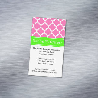 Hot Pink2 Wht Moroccan #5 Lime Green Name Monogram Magnetic Business Card