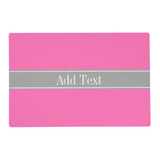 Hot Pink #2, Dark Gray Ribbon Name Monogram Laminated Placemat