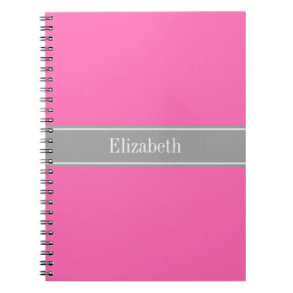 Hot Pink #2, Dark Gray Ribbon Name Monogram Notebooks