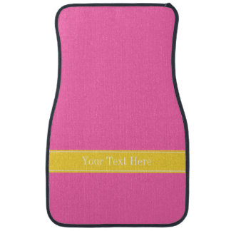Hot Pink #2, Pineapple Ribbon Name Monogram Car Mat