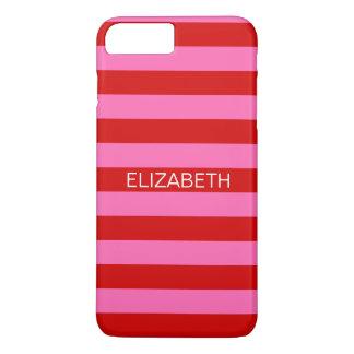 Hot Pink #2, Red Horiz Preppy Stripe Name Monogram iPhone 8 Plus/7 Plus Case