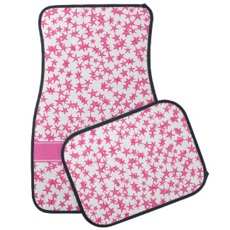 Hot Pink 2 Stars White BG, Hot Pink Name Monogram Floor Mat