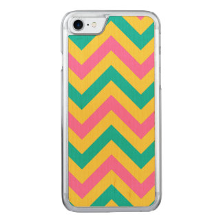 Hot PInk #2, Teal Pineapple Chevron ZigZag Pattern Carved iPhone 7 Case