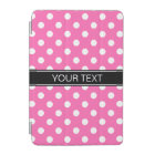 Hot Pink #2 White Polka Dots #2 Black Monogram iPad Mini Cover