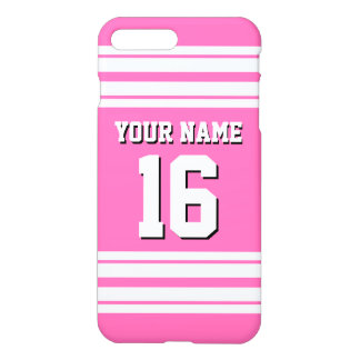 Hot Pink #2 White Team Jersey Custom Number Name iPhone 8 Plus/7 Plus Case