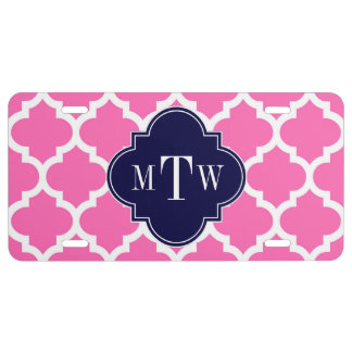Hot Pink 2 Wht Moroccan 5 Navy 3 Initial Monogram License Plate