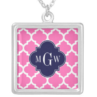 Hot Pink 2 Wht Moroccan 5 Navy 3 Initial Monogram Custom Necklace