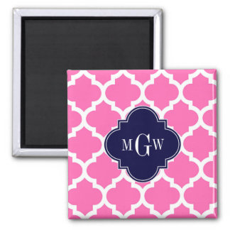 Hot Pink#2 Wht Moroccan #5 Navy 3 Initial Monogram Square Magnet