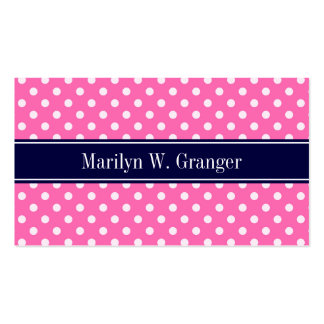 Hot Pink #2 Wht Polka Dots Navy Blue Name Monogram Business Card