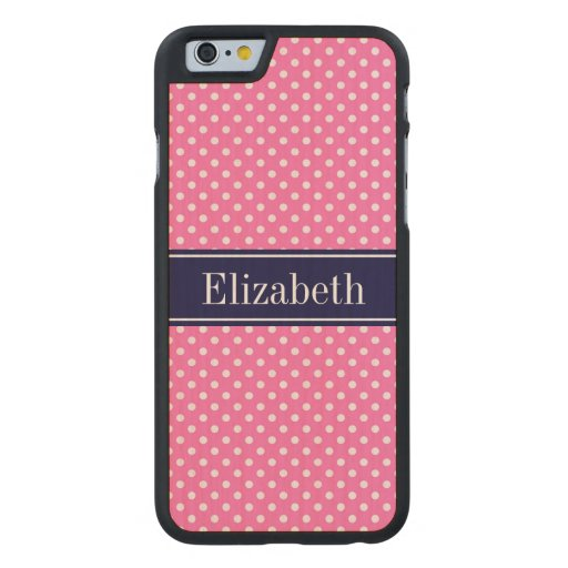 Hot Pink #2 Wht Polka Dots Navy Blue Name Monogram Carved® Maple iPhone 6 Slim Case