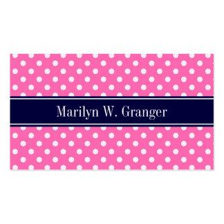 Hot Pink #2 Wht Polka Dots Navy Blue Name Monogram Pack Of Standard Business Cards