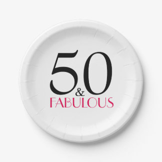Hot Pink 50 and Fabulous Birthday Party 7 Inch Paper Plate