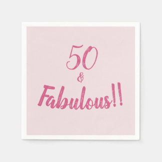 Hot Pink 50 and Fabulous Birthday Party Disposable Napkins