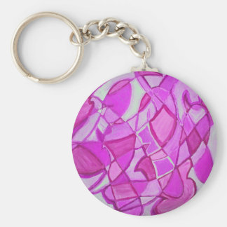 Hot Pink Abstract Art by Kara Willis Keychain