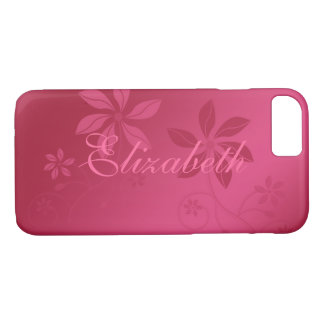 Hot Pink Abstract Floral Custom Name iPhone 8/7 Case