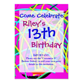 Hot Pink Abstract Girly Doodle Design Novelty Gift 5x7 Paper Invitation Card