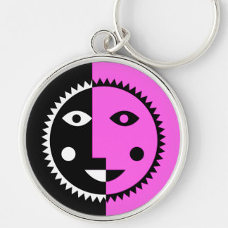 Hot Pink Abstract Sun Silver-Colored Round Keychain