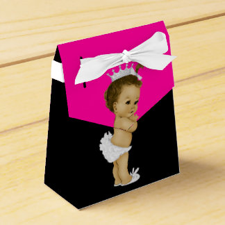 Hot Pink African American Baby Girl Shower Party Favor Box