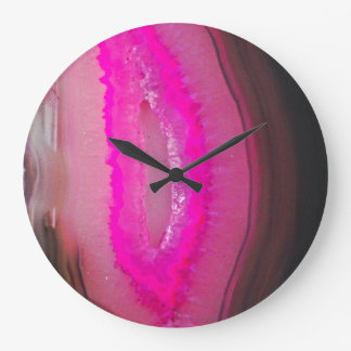 Hot Pink Agate Faux Gemstone Large Clock