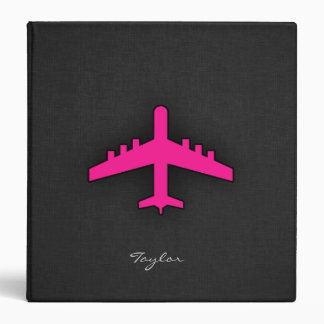 Hot Pink Airplane 3 Ring Binders